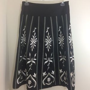 NWOT Dialogue Lined Embroidered Boho Peasant Skirt